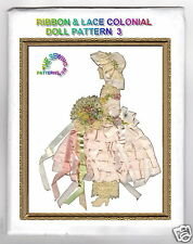 Ribbon & Lace Art paper Doll pattern Colonial w/ hat #3