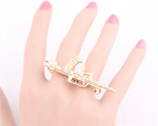 Hot New Women Fashion Gold Plated Crystal Long Gun Two Finger Rings Adjustable