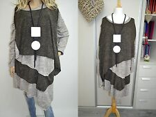 12 14 16 18 Italian Wool Lagenlook Tunic Dress 2 Pc Asymmetric Quirky Brown-Grey