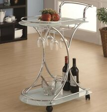 Coaster 910002 Chrome Serving Cart with 2 Frosted Glass Shelves