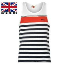 Lee Cooper Vest Mens Yarn Dye Stripe Vest White/Black/Red Summer Beach Size M