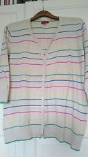 MONSOON LADIES STRIPE COTTON CARDIGAN SIZE 22