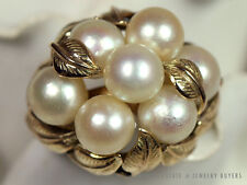 MING'S HAWAII LEAF PEARL CLUSTER RING 14K YELLOW GOLD (SZ 8) MINGS JEWELRY
