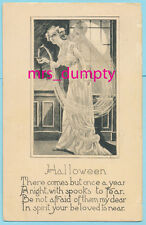 HALLOWEEN Clare Angell WOMAN w/ CANDLE Ghost Man Unknown Publisher ~HTF POSTCARD