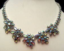 "Rare Vtg 16""x1"" Signed Sherman Rhodium Plated Blue AB Rhinestone Necklace A10"