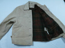 Mens Colebrook & Co Leather Plaid Lined Motorcycle Biker Coat Jacket Sz S