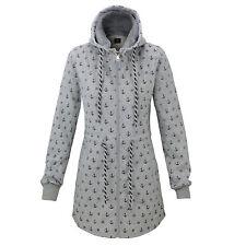 Damen Übergangsjacke Herbst Winter Fleece Sweatjacke Kapuzen Jacke Mantel S