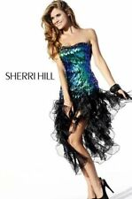 Sherri Hill 2887 Sequined Black Green Turquoise Corkscrew Dress sz 4