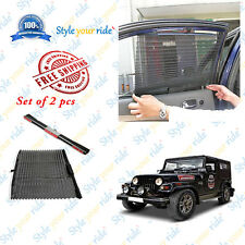 2 Pc Auto Retractable Car Side Window Curtain-Black For Mahindra Thar