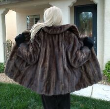WOMEN'S GENUINE SAPPHIRE GRAY MINK FUR COAT