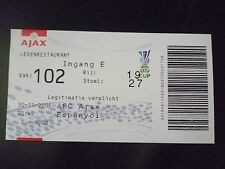 Tickets- 2006 UEFA Cup- AJAX v ESPANYOL, 30 November