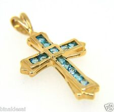 Ladies 9ct Gold Blue Topaz Channel SET Cross Pendant Anniversary B'day GIFT BOX