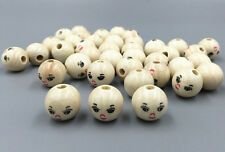 DIY 50PCS Wooden Round Painted Smile Face Loose Beads CRAFT BEADS 14mm
