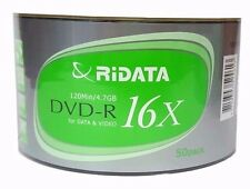 50 RIDATA ECO Blank DVD-R DVDR Recordable Logo Branded 16X 4.7GB Media Disc