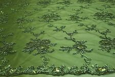 embroidery floral lace fabric on polyester mesh. fancy flower mesh fabric