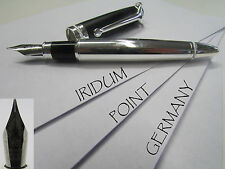 1x Füllfederhalter Füller Metall blank Iridium Point Germany Füllhalter Set