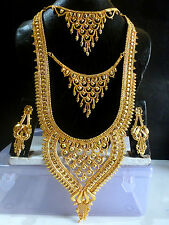 22K Gold Plated 11'' Long 3 Steps Necklace Earrings South Indian Wedding Set /