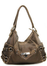 Bronze Pockets Buckle Lock Inspired Designer Shoulder Handbag Bag Purse