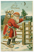PERE NOEL.SANTA CLAUS. CHRISTMAS. HOTTE JOUETS. BASKET TOYS. GAUFRé. EMBOSSED.