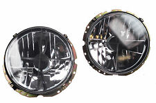 "Headlight 7"" Pair Light Lens Black Crosshair VW Beetle T1 Camper T2 Golf Polo"