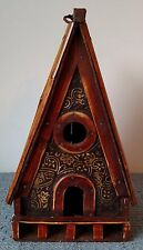 Wood and Bamboo BIRDHOUSE ~ Made in China ~ Steeply Sloped Bamboo Roof ~ 10⅛""