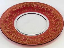 Assiette verre rouge rubis et doré large 297mm de diamètre