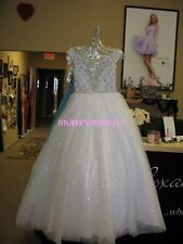 Tiffany Princess 13457 White Stunning Girls Pageant Gown Dress sz 12