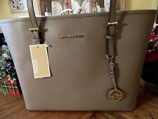 MICHAEL KORS SAFFIANO LEATHER DARK TAUPE JET SET TRAVEL MD TOTE PURSE NEW  $278