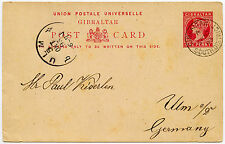 GIBRALTAR VICTORIA 1893 STATIONERY CARD to GERMANY...SOUTH DISTRICT CDS POSTMARK