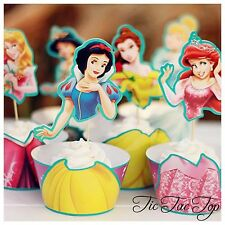12x 6 Disney Princesses Cupcake Toppers + Wrappers. Jelly Cup *Superb Quality*
