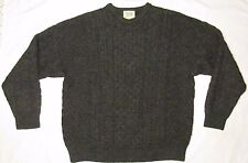 CARRAIG DONN Mens 100% WOOL CABLE KNIT Sweater GRAY IRELAND MADE HEAVY L LARGE