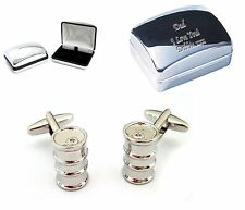 Gasoline Oil Drum Cufflinks + Engraved Chrome Case Personalised