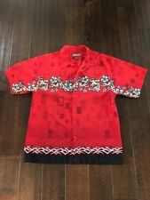 Urban Up Pipeline Mens Short Sleeve Button Red with Dragons Shirt Size L
