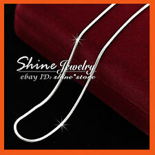 18K WHITE GOLD FILLED SILVER SNAKE CHAIN for pendant LADY SOLID NECKLACE 45/50CM