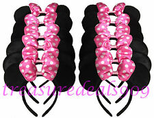 12 pcs MINNIE MOUSE EARS HEADBANDS BLACK  PINK BOW PARTY FAVORS COSTUME MICKEY