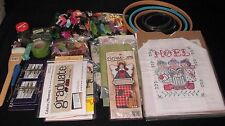 Large Lot of 100+  Embroidery floss/thread, hoops, kits ++++ other items