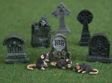 Dolls House Miniature 1/12th Scale Set of 6 Detailed Tombstones
