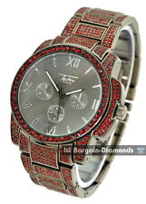 manly big gunmetal red CZ ice out case bracelet clubbing watch