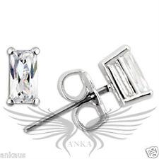 AAA Grade Baguette CZ Cubic Zircon Rhodium on 925 Sterling Silver Earrings 0W161