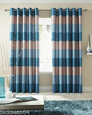 "BRAZIL TEAL CREAM BEIGE STRIPED FAUX SILK LINED RING TOP 46"" X 48"" CURTAINS #OIR"