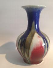 Hochwertige Porzellanvase aus China signiert Laufglasur Ochsenblut Blau Grün TOP