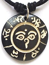 HINDU CARVED PENDANT MENS WOMENS BOYS GIRLS NEW AGE HIPPIE 0M NECKLACE N0328