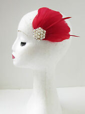 Red Ivory White Silver Feather Fascinator Pearl Vtg 1940s Races Hair Clip 7AU