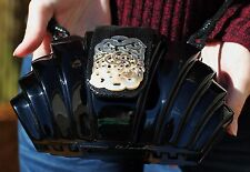 TIMMY WOODS MINAUDIERE BLACK LACQUER MOTHER OF PEARL DRAGON CLUTCH CROSSBODY BAG