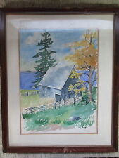 Nice Old Watercolor Painting Old Barn & Trees Signed P.C.Harris