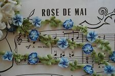 1y FRENCH STYLE OMBRE BLUE ROCOCO ROSETTE FLOWER RIBBON TRIM VINTAGE DOLL DRESS