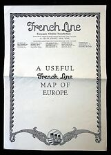 Brochure - French Line  Compagnie Cenerale Transatlantique - Map of Europe 1926