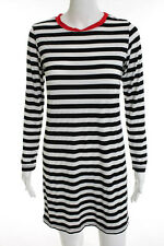 Minnie Mortimer Black White Striped Long Sleeve Shift Dress Size Medium