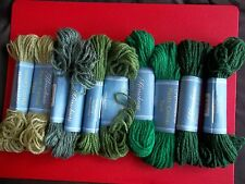Herrschners Plastic Canvas yarn, green tones, mixed 10 skeins (25 yds each)