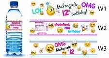 Emoji Emoticon ~ Printed Water Bottle Labels ~ Birthday Party Baby Shower Favors